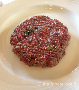 Steak tartare, prepared at the table