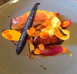 Greenvale pork, heirloom carrots, curried raisins and saffron