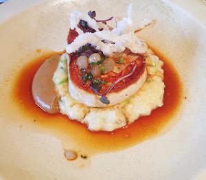 fillet of swordfish served on flaked crab